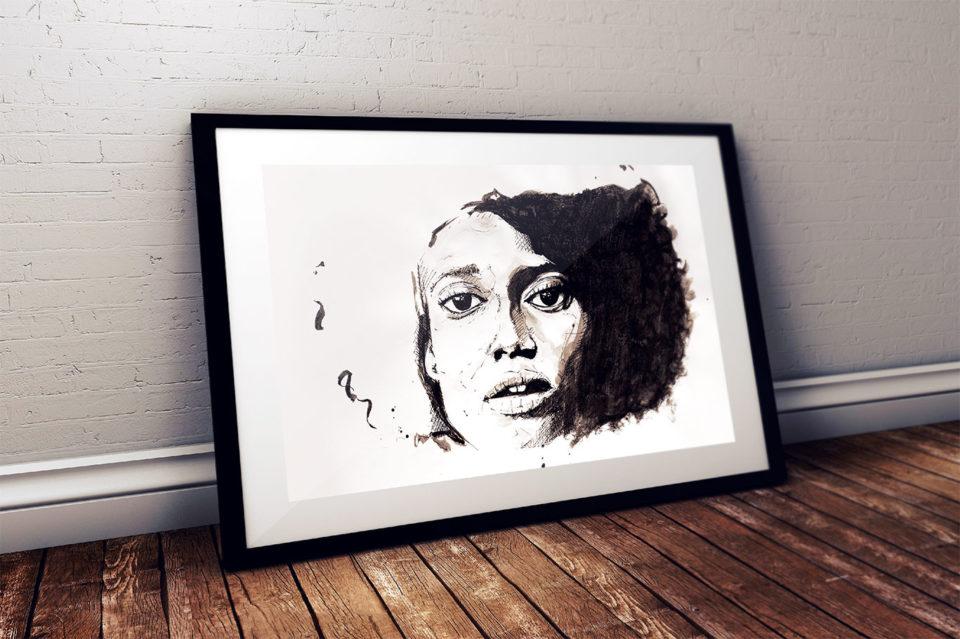 Portrait de femme - Mise en situation du dessin