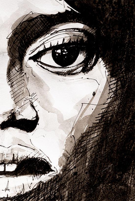 Portrait de femme - Zoom sur une partie du dessin
